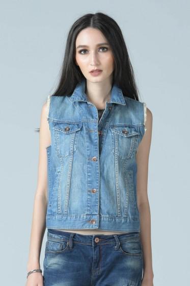 Mc Jeans เสื้อคลุมยีนส์แขนกุด