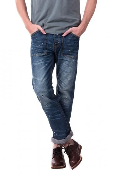 The Blue Brothers กางเกงยีนส์ทรงขากระบอก ริมแดง ผ้านำเข้า